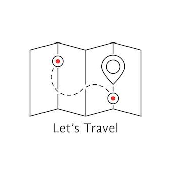 Dunne lijn reiskaart met pin. concept van lokaliseren, oriëntatiepunt, brochure, naald, zoeken, huwelijksreis, reis, begeleiding. geïsoleerd op witte achtergrond vlakke stijl trend moderne logo ontwerp vectorillustratie