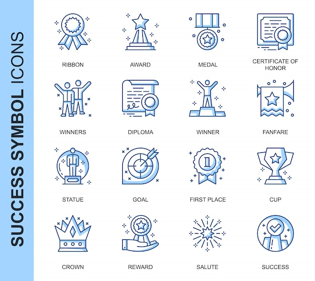 Dunne lijn succes gerelateerde pictogrammen instellen