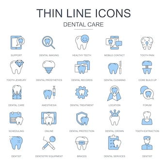 Dunne lijn tandheelkundige zorg, tandheelkundige apparatuur pictogrammen instellen