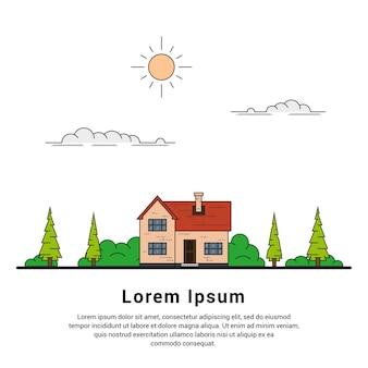 Dunne lijn van privé cottage-huis met bomen, wolken en zon, gezinswoning, onroerend goed en bouwconcept