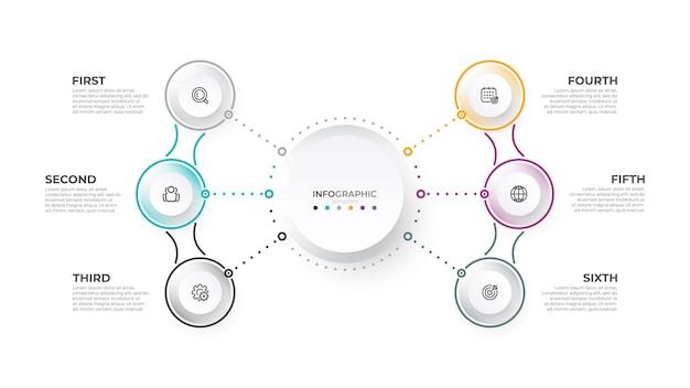 Dunne lijn zakelijke infographic sjabloon met 6 opties vectorillustratie