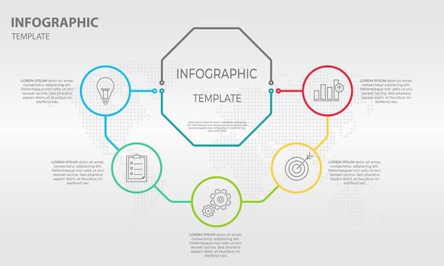 Dunne lijndiagram infographic 5 opties