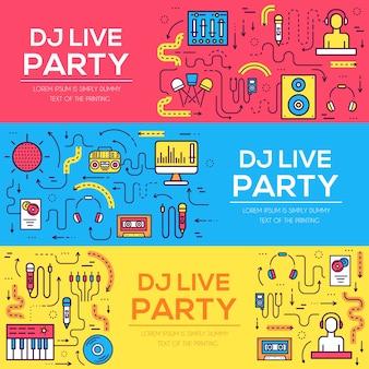 Dunne lijnen iconen van nachtclub dj personeel. muziektechnologie en accessoires objecten elementen collectie