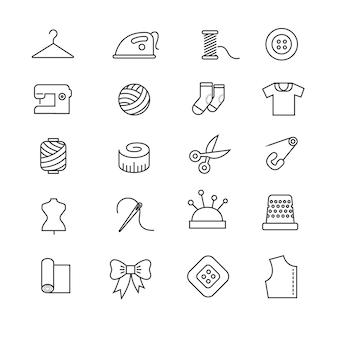Dunne lijnen stof, naaien, kleermaker, vector pictogrammen breien