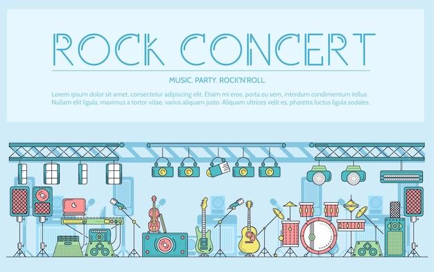 Dunne lijnpodium met verschillende muziekinstrumenten en apparatuur voor het plateren van rock'n'roll-concept