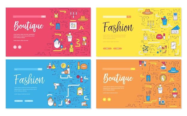 Dunne lijnverkoper die zich in set boetiekkaarten bevindt. stijlvolle modieuze kleding sjabloon banners.