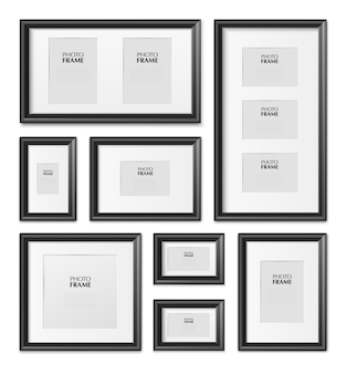 Dunne zwarte rechthoekige fotolijsten in verschillende maten van realistische mockup-set van hout, metaal, kunststof