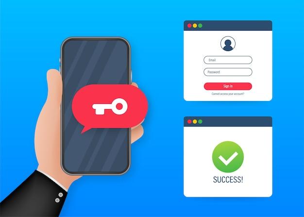 Duo authenticatie concept banner met tekstplaats. kan gebruiken voor webbanner, infographics, heldenafbeeldingen. illustratie.