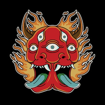Duo devil vintage tattoo retro