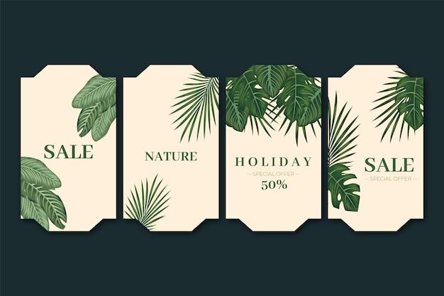 Duotone exotische planten cadeaulabel