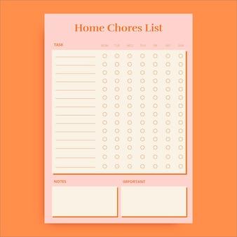 Duotone lijst met eenvoudige huishoudelijke taken