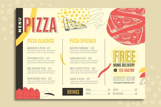Duotoon moderne pizza eten menusjabloon