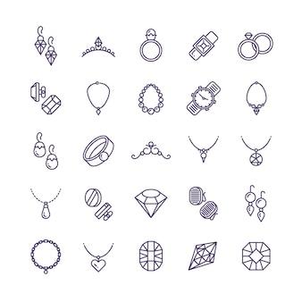 Dure gouden sieraden met diamanten lijnpictogrammen en symbolen van bruiloftaccessoires