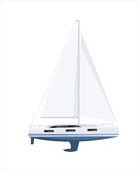 Dure jachtboot met zeil en mast op witte achtergrond