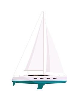 Dure jachtboot voor windsurfen op witte achtergrond