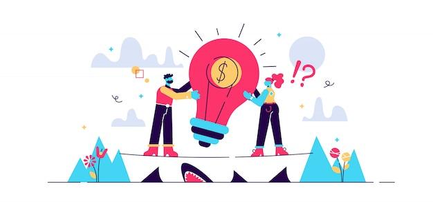 Durfkapitaal illustratie. plat kleine investering personen concept. risicovolle onderneming met enorm winstpotentieel. opstarten en financiering van nieuwe ideeën. innovatie-ondernemer en project crowdfunding.