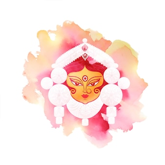 Durga pooja festivalkaart in aquarelstijl