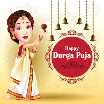 Durga puja navratri-festival groeten met een gelukkige danser