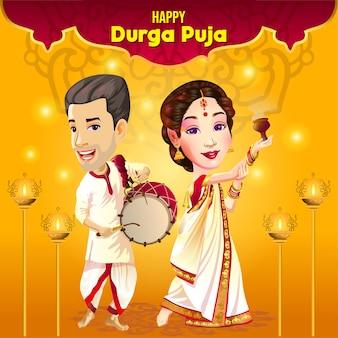 Durga puja navratri-festivalwensen met danser en drummer