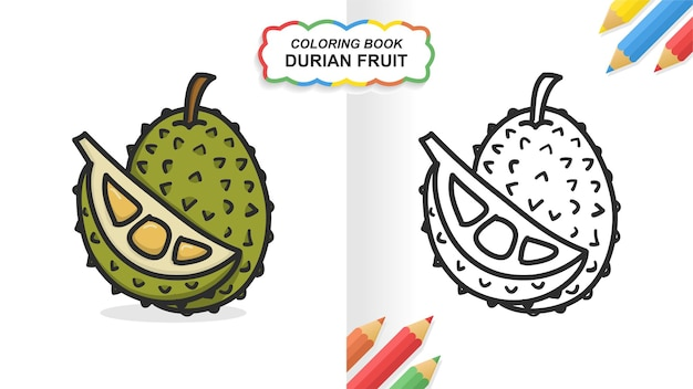 Durian fruit hand getekend kleurboek om te leren. egale kleur klaar om af te drukken