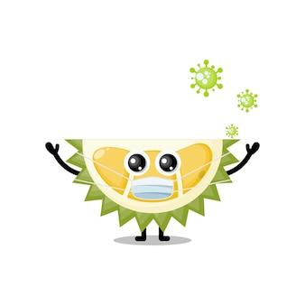 Durian masker virus schattig karakter mascotte