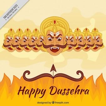 Dussehra achtergrond met vuur en de tien hoofden van ravana