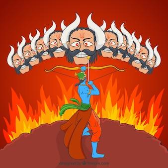 Dussehra achtergrond met vuur