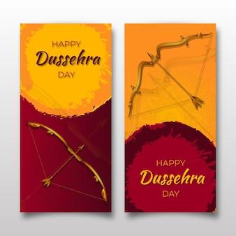 Dussehra banner set met pijlen