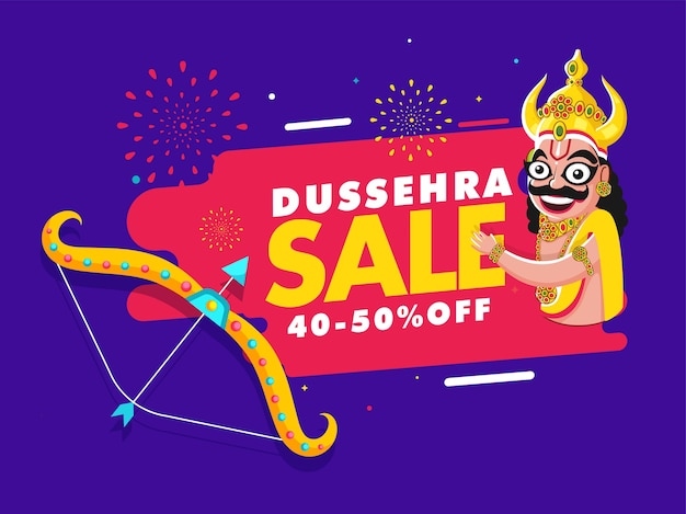 Dussehra sale poster kortingsaanbieding en demon ravana character op paarse en roze achtergrond.