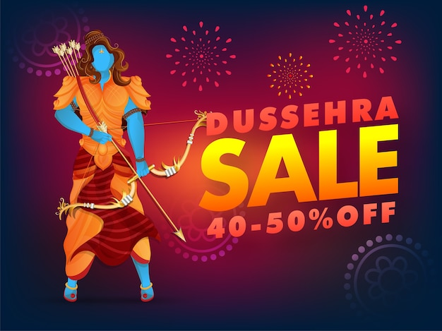 Dussehra sale poster kortingsaanbieding en lord rama character op vuurwerk achtergrond.