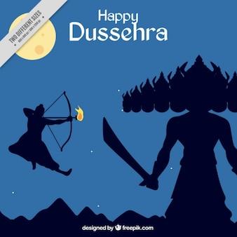 Dussehra viering achtergrond met strijd vertegenwoordigd