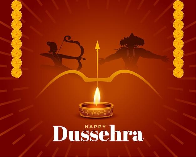 Dussehra wenst achtergrond met lord rama die ravana vermoordt