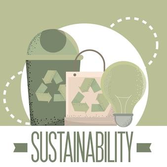 Duurzaamheidsbanner met pictogrammen
