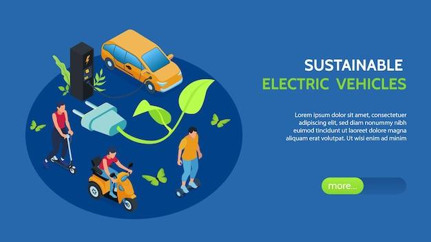 Duurzame elektrische voertuigen isometrische banner