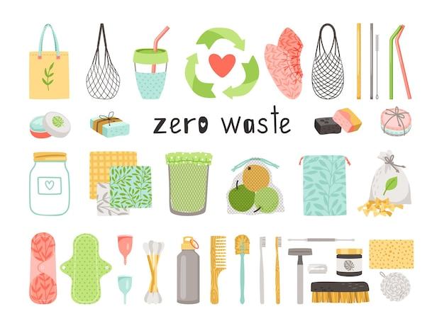 Duurzame en herbruikbare items van natuurlijke ecologie om plastic afval te verminderen