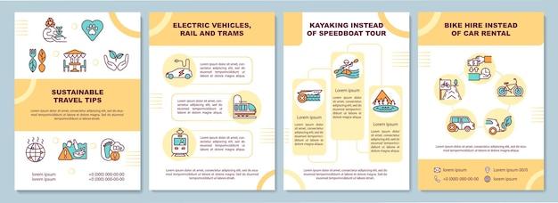 Duurzame reistips brochure sjabloon. elektrische voertuigen. flyer, boekje, folder, omslagontwerp met lineaire pictogrammen.