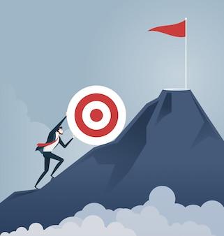Duw het doel naar de top. bedrijfsconcept