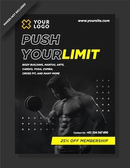 Duw je limiet poster flyer voor sportschoolactiviteiten