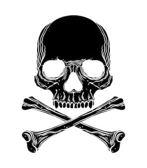 Dwarsbeenderen en schedel zwarte grephic illustratie