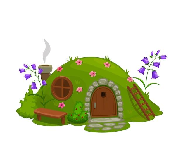 Dwerg- of kabouterhuis, sprookjesachtige boomhut cartoon.