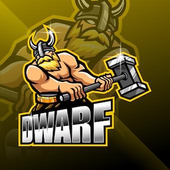 Dwergen esport mascotte logo ontwerp