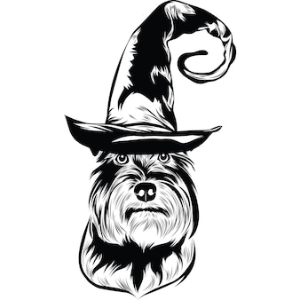 Dwergschnauzerhond met heksenhoed voor halloween