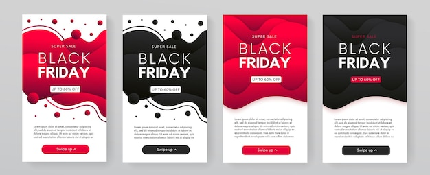 Dymanic trendy vloeiende mobiele black friday-verkoopbannerscollectie. abstracte promoposters.