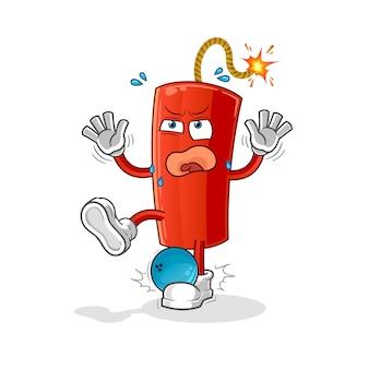 Dynamiet geraakt door bowlingcartoon. cartoon mascotte