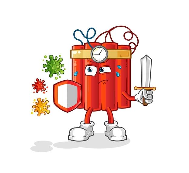 Dynamiet tegen virussen cartoon. cartoon mascotte vector