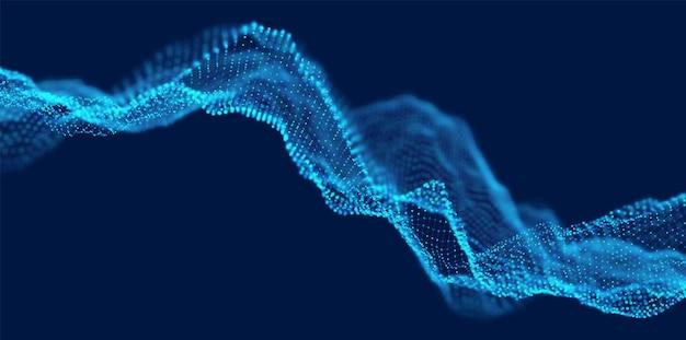 Dynamisch blauw stiplandschap abstracte digitale golfachtergrond technologie vectorillustratie
