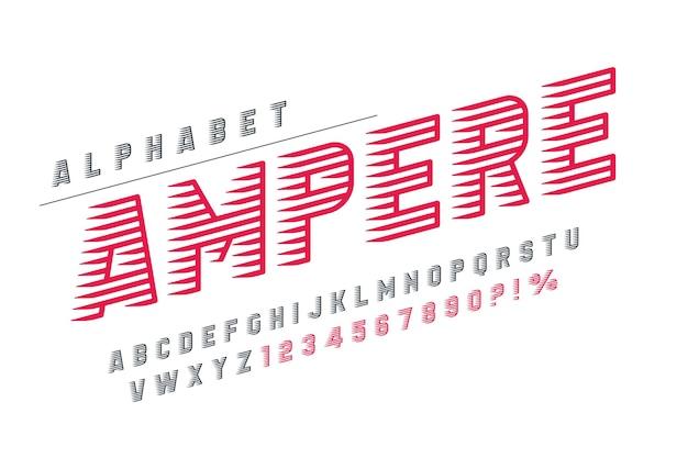 Dynamisch display letters ontwerp, alfabet, cijfers set.