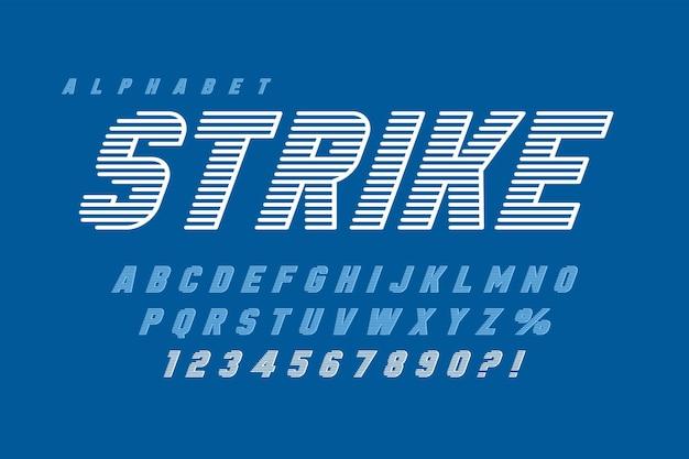Dynamisch display letters ontwerp, alfabet, cijfers. vector tekens. 20 graden scheefstand