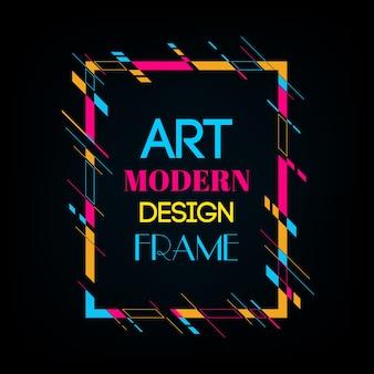 Dynamisch frame met stijlvolle kleurrijke abstracte geometrische vormen eromheen