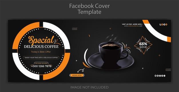 Dynamisch restaurantmenu sociale media promotie heerlijke zwarte koffie facebook voorbladsjabloon Premium Vector